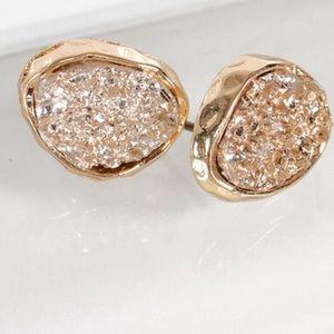 Jewelry - Rose Gold Dainty oval druzy post stud earrings